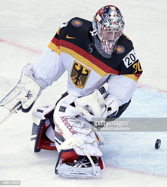 Germany's goalie Philipp Grubauer saves his net during a preliminary round group B game Germay vs Lavia of the IIHF International Ice Hockey World...