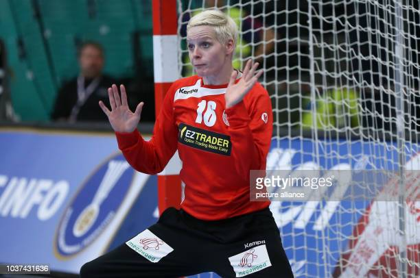 Germany's goalkeeper Clara Woltering in action during a handball match between Germany and the DR Congo at the IHF Women's Handball World...