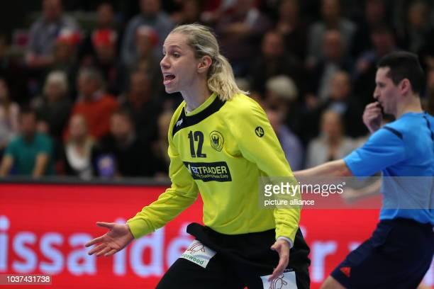 Germany's goalkeeper Katja Kramarczyk in action during the World Women's HandballChampionship match between Germany and Norway in Frederikshavn...