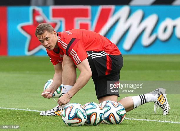 Germany's goalkeeper Manuel Neuer attends a public training session of the German national football team in Mainz Germany June 5 prior to the...