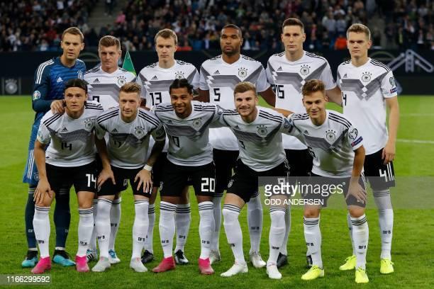 Germany's goalkeeper Manuel Neuer Germany's midfielder Toni Kroos Germany's defender Lukas Klostermann Germany's defender Jonathan Tah Germany's...
