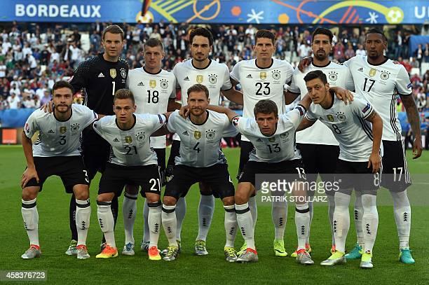 Germany's goalkeeper Manuel Neuer Germany's midfielder Toni Kroos Germany's defender Mats Hummels Germany's forward Mario Gomez Germany's midfielder...