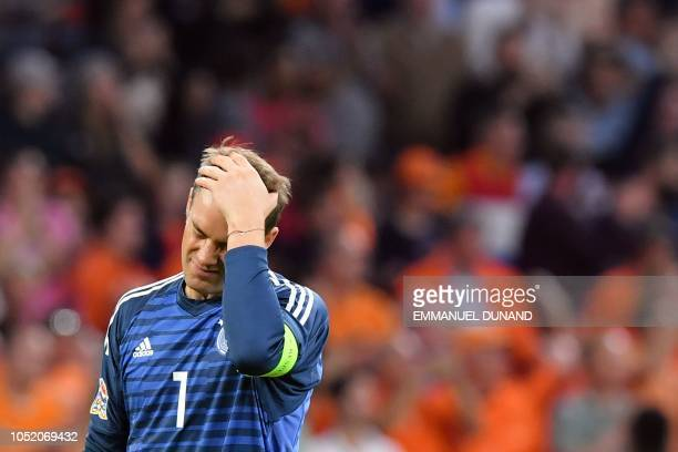 Germany's goalkeeper Manuel Neuer reacts at the end of the UEFA Nations League football match between Netherlands and Germany on October 13 2018 at...