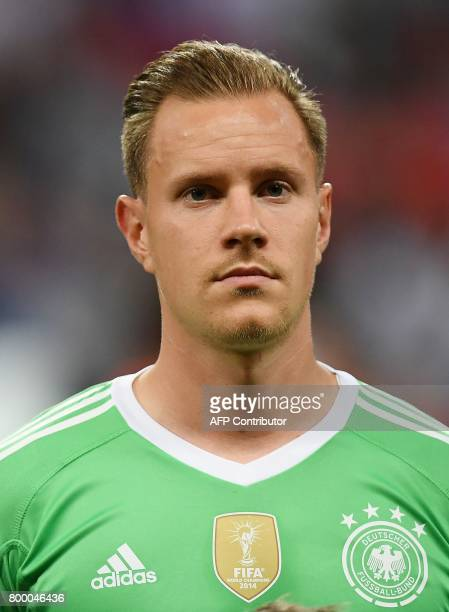 Germany's goalkeeper Marc Andre Ter Stegen poses ahead of the 2017 Confederations Cup group B football match between Germany and Chile at the Kazan...