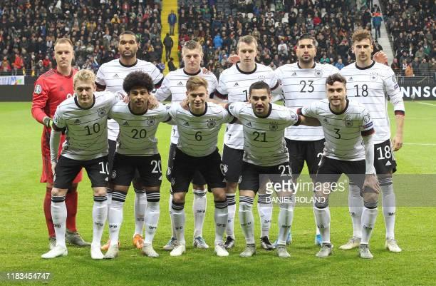 Germany's goalkeeper MarcAndre Ter Stegen Germany's defender Jonathan Tah Germany's midfielder Toni Kroos Germany's defender Lukas Klostermann...