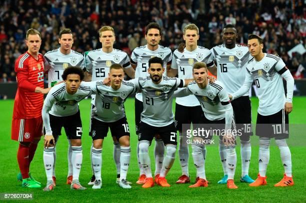 Germany's goalkeeper MarcAndre ter Stegen Germany's midfielder Julian Draxler Germany's defender Marcel Halstenberg Germany's defender Mats Hummels...