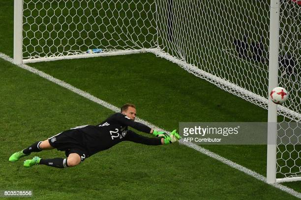 Germany's goalkeeper MarcAndre Ter Stegen punches the ball away during the 2017 Confederations Cup semifinal football match between Germany and...