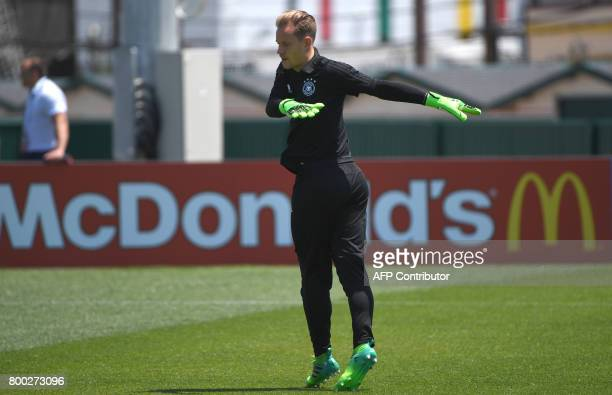 Germany's goalkeeper MarcAndre TerStegen warms up during a training session during the Russia 2017 Confederation Cup football tournament in Sochi on...