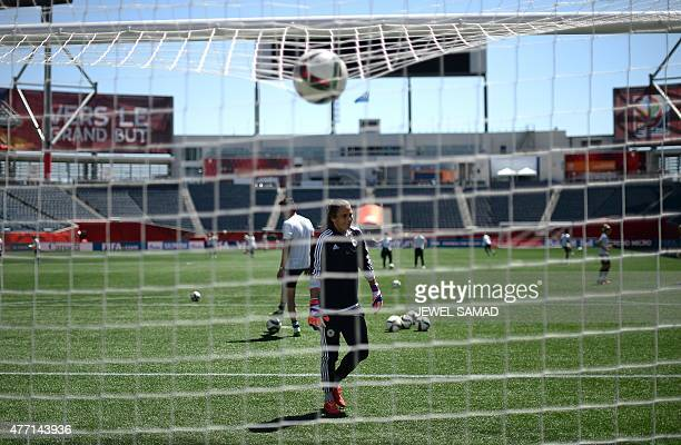 Germany's goalkeeper Nadine Angerer in net during a training session at the Winnipeg Stadium in Winnipeg, Manitoba on June 14 on the eve of their...