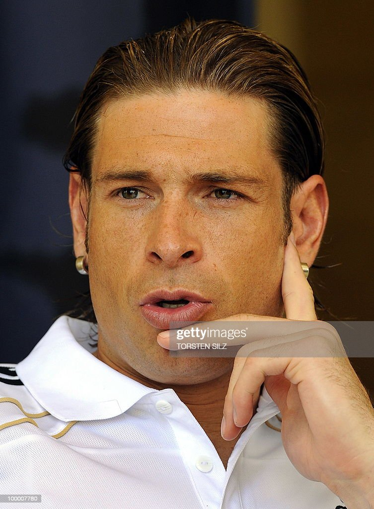 Germany's goalkeeper Tim Wiese gives an interview during a so-called media day at the Verdura Golf and Spa resort, near Sciacca May 19, 2010. The German team is currently taking part in a 'Regeneration' camp in Sicily to prepare for the upcoming FIFA Football World Cup in South Africa.