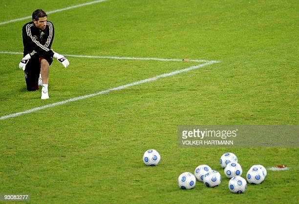 Germany's goalkeeper Tim Wiese takes part in a training session on November 16 2009 in Duesseldorf western Germany ahead of a friendly football match...