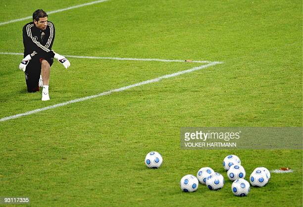 Germany's goalkeeper Tim Wiese takes part in a training session on November 17 2009 in Duesseldorf western Germany ahead of a friendly football match...