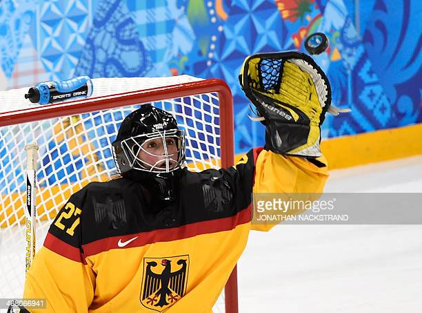 Germany's goalkeeper Viona Harrer makes a save during the Women's Ice Hockey Group B match between Russia and Germany at the Shayba Arena during the...
