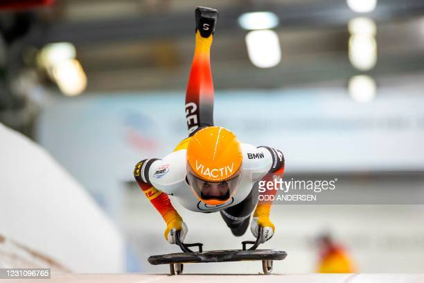 Germany's Hannah Neise competes during the second run of the women's skeleton competition of the IBSF Skeleton World Championship in Altenberg, on...