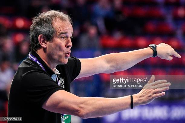 Germany's head coach Henk Groener gestures during the 2018 European Women's handball Championships Group 2 main round match between Netherlands and...