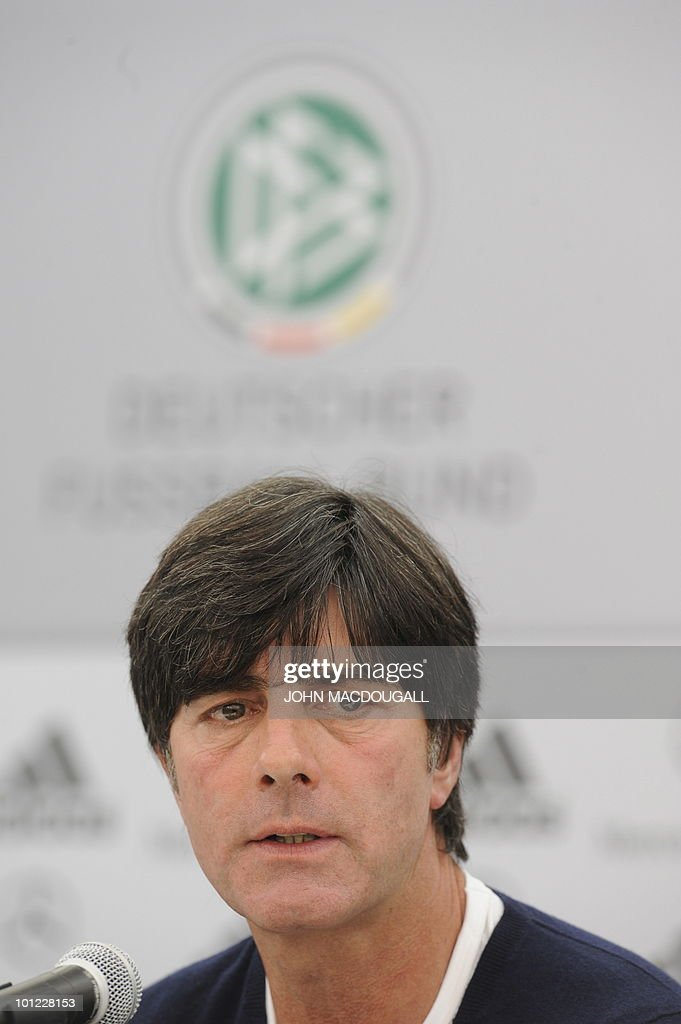Germany's head coach Joachim Loew addresses a press conference in Appiano May 28, 2010. The German football team is currently taking part in a 12-day-long training camp ahead of the 2010 Football World Cup in South Africa.