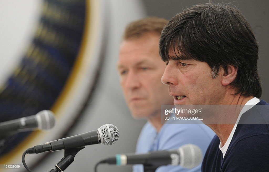 Germany's head coach Joachim Loew (R) and German goalkeeper trainer Andreas Koepke address a press conference in Appiano May 28, 2010. The German football team is currently taking part in a 12-day-long training camp ahead of the 2010 Football World Cup in South Africa.