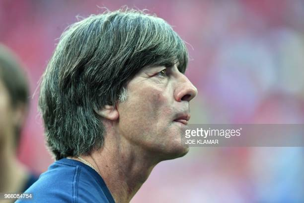 Germany's head coach Joachim Loew arrives for the international friendly footbal match Austria v Germany in Klagenfurt Austria on June 2 2018