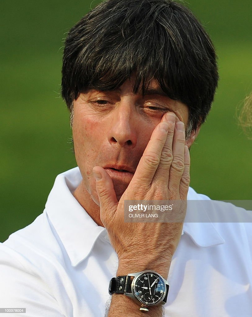 Germany's head coach Joachim Loew gestures during a training match against Sued Tyrol FC at the team's training centre in Appiano, near the north Italian city of Bolzano May 24, 2010. The German football team is currently taking part in a 12-day training camp in Appiano to prepare for the upcoming FIFA Football World Cup in South Africa.