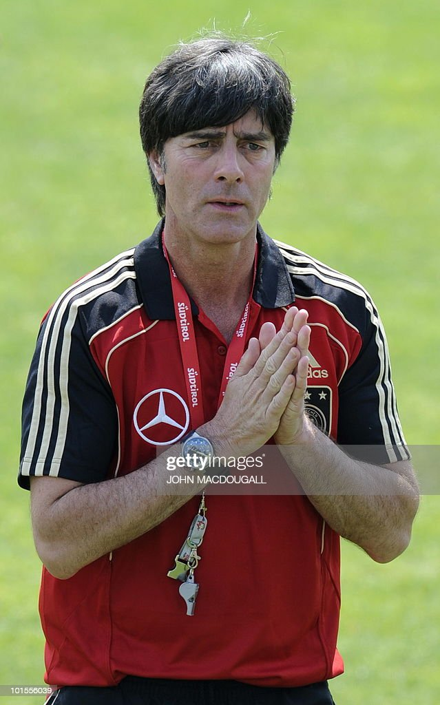 Germany's head coach Joachim Loew gestures during a training session in Appiano, near the north Italian city of Bolzano May 26, 2010. The German football team is currently taking part in a 12-day training camp in Appiano to prepare for the upcoming FIFA Football World Cup in South Africa.