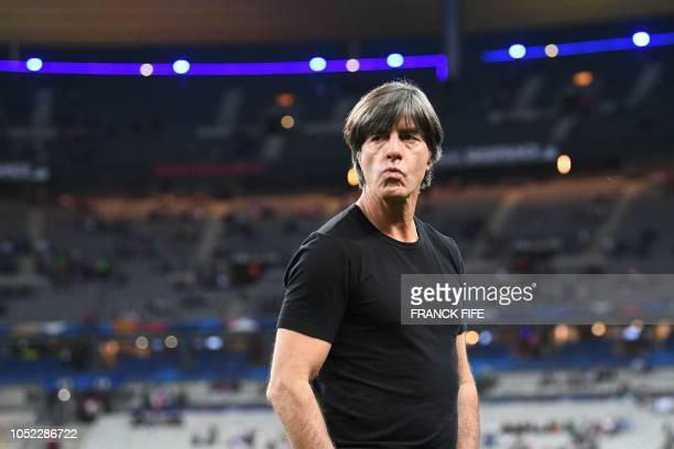 Germany's head coach Joachim Loew looks on before the UEFA Nations League football match between France and Germany at the Stade de France in...