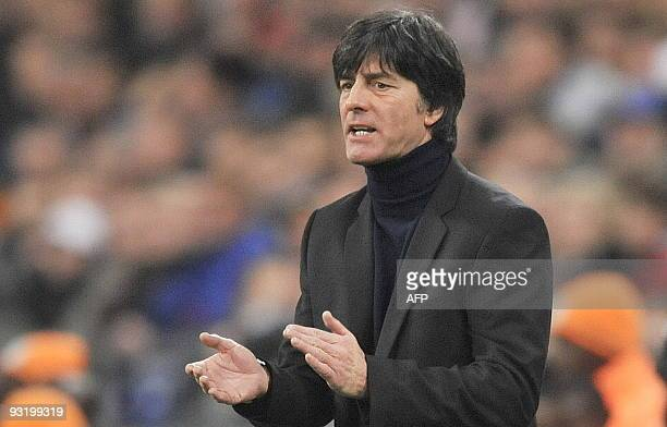 Germany's head coach Joachim Loew reacts during the friendly football match Germany vs Ivory Coast in Gelsenkirchen western Germany on November 18...