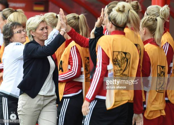 Germany's head coach Silvia Neid celebrates the goal to the 0:1 during the FIFA Women«s World Cup 2015 Group B soccer match between Thailand and...