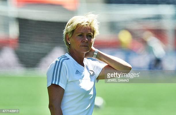 Germany's head coach Silvia Neid watches her players during a training session at the Winnipeg Stadium in Winnipeg, Manitoba on June 14, 2015 on the...
