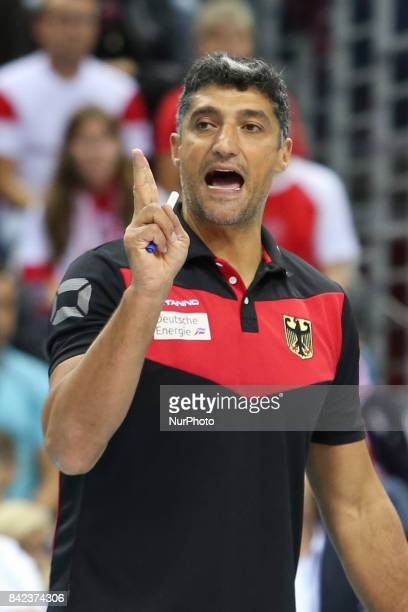 Germany's headcoach Andrea Giani reacts during the final match between Russia and Germany of the 2017 CEV Men's Volleyball European Championship at...