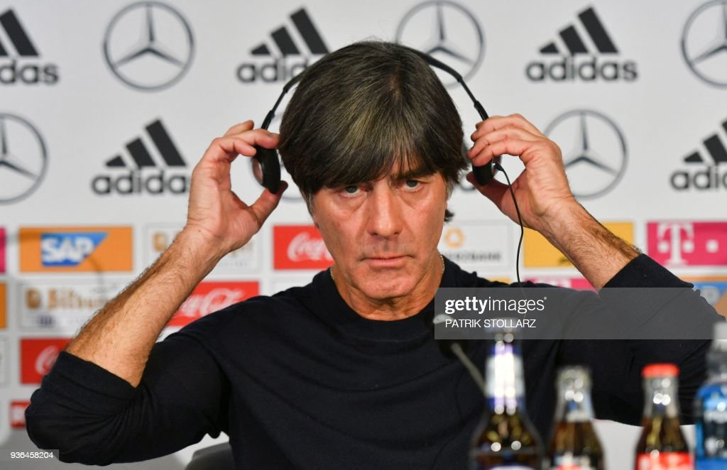 Germany's headcoach Joachim Loew addresses a press conference one day ahead of the team's international friendly match against Spain on March 22, 2018 in Duesseldorf. / AFP PHOTO / Patrik STOLLARZ