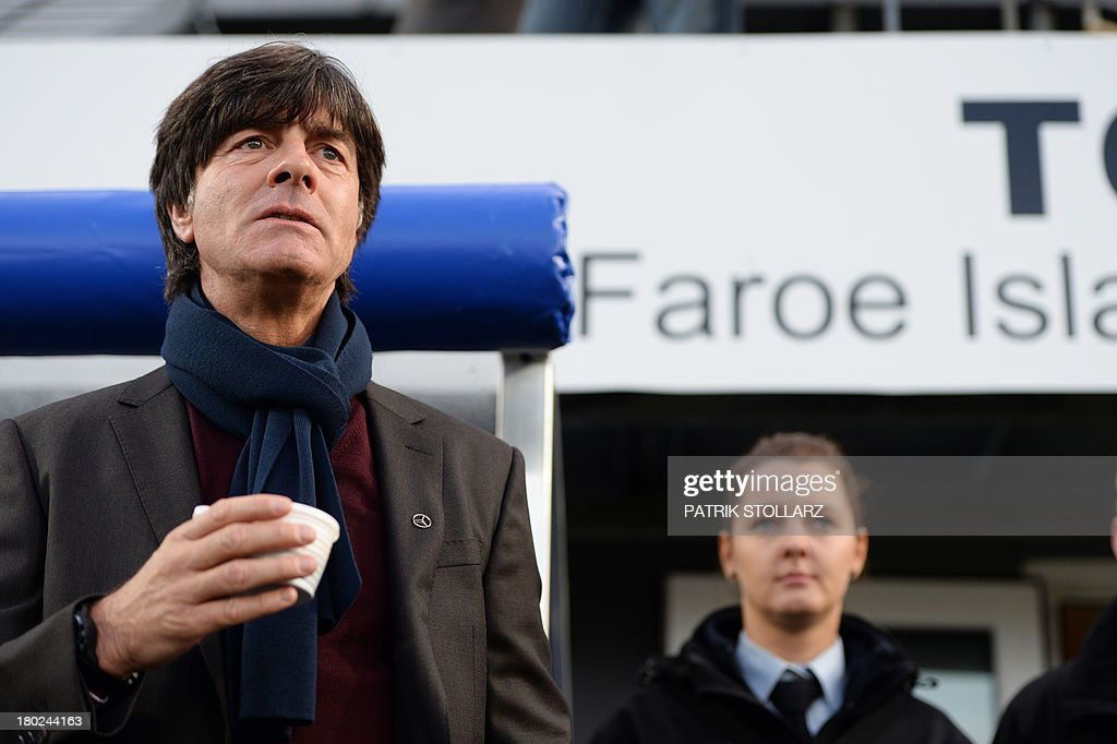 Germany's headcoach Joachim Loew looks on prior to the FIFA World Cup 2014 qualifying football match Faroe Island vs Germany in Torshavn on September 10, 2013.