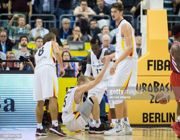 Germany's Heiko Schaffartzik Dennis Schroeder n Tibor Pleiss and Niels Giffey in action during the FIBA EuroBasket 2015 Group B match between Germany...