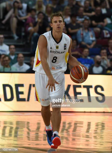 Germany's Heiko Schaffartzik dribbles the ball during the basketball international between Germany and Croatia in Bremen Germany 16 August 2015 PHOTO...