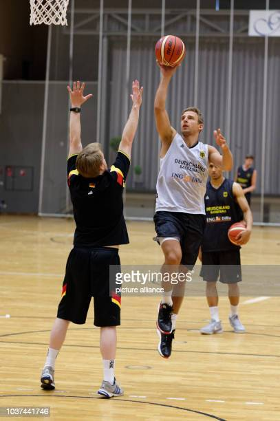 Germany's Heiko Schaffartzik in action during the practice session of Germany's national basketball team in Rotenburg an der Fulda Germany 5 August...