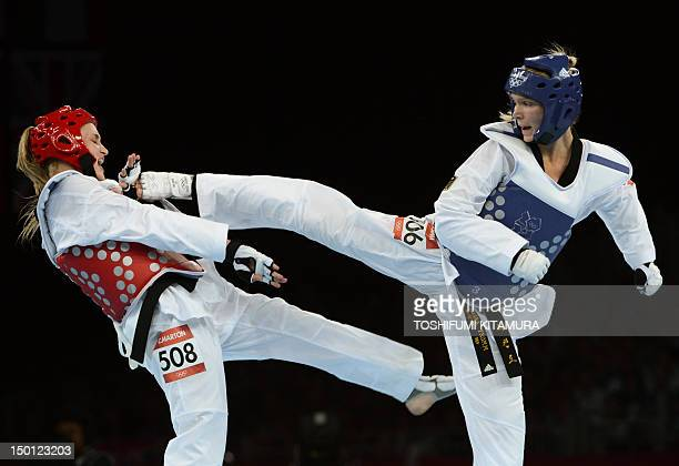Germany's Helena Fromm fights against Australia's Carmen Marton during their women's taekwondo bronze medal bout in the category under 67 kg as part...