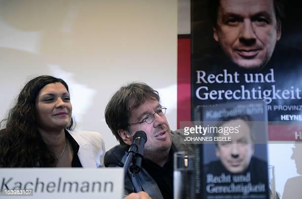 Germany's highprofile TV weatherman Swiss Joerg Kachelmann and his wife Miriam present their book 'Recht und Gerechtigkeit Ein Maerchen aus der...