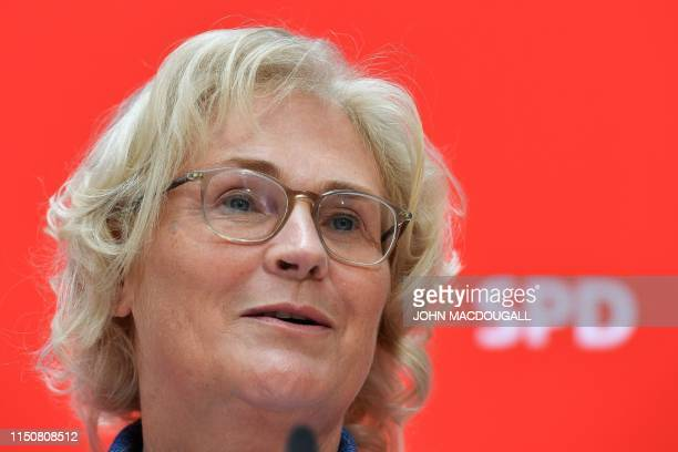 Germany's incoming Justice Minister Christine Lambrecht addresses a press conference at the Social Democratic Party's headquarters in Berlin on June...