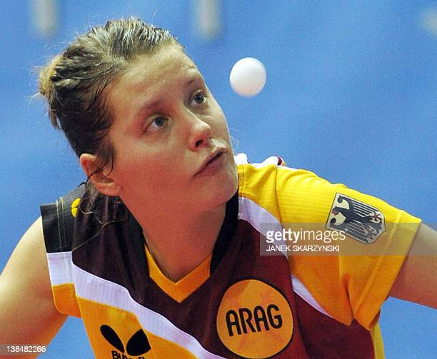 Germany's Irene Ivancan plays against Ukraine's Margaryta Pesotka in their European Table Tennis Championships semi final match in Gdansk on 16...