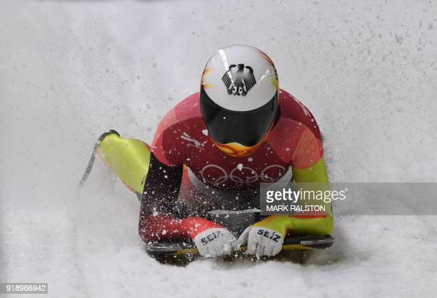 TOPSHOT Germany's Jacqueline Loelling competes in the women's skeleton heat 2 run during the Pyeongchang 2018 Winter Olympic Games at the Olympic...