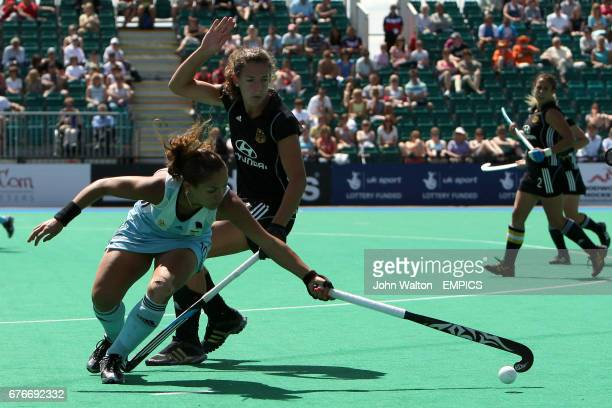 Germany's Janne WielandMuller and Argentina's Agustina Soledad Garcia in action