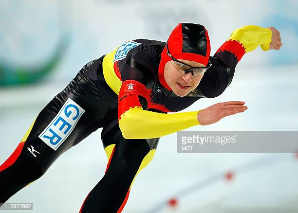 Germany's Jeff Wolf competes in the 500 Meter Ladies Speed Skating event during the 2010 Winter Olympics in Vancouver British Columbia Tuesday...