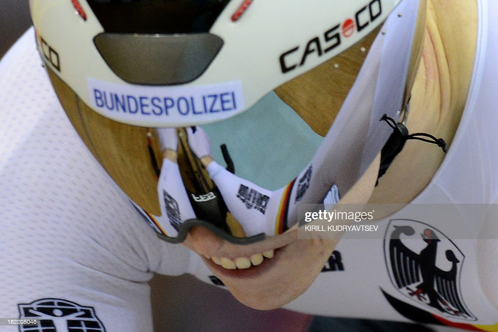 Germany's Joachim Eilers competes to win the bronze medal during the UCI Track Cycling World Championships men's time trial in Minsk on February 20, 2013.