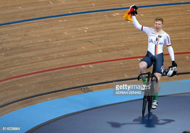 Germany's Joachim Eilers wins the Men's Keirin final during the 2016 Track Cycling World Championships at the Lee Valley VeloPark in London on March...
