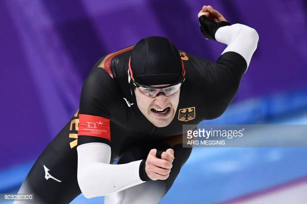 TOPSHOT Germany's Joel Dufter competes in the men's 1000m speed skating event during the Pyeongchang 2018 Winter Olympic Games at the Gangneung Oval...