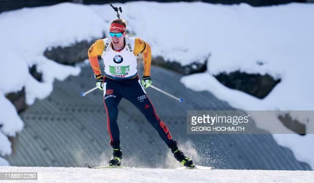 Germany's Johannes Kuehn competes during the IBU World Cup biathlon Men's 4x75 km relay competition at the IBU Biathlon World Cup in Hochfilzen...