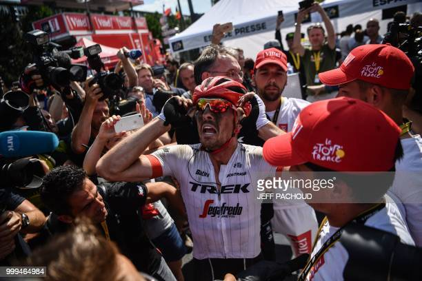 Germany's John Degenkolb celebrates after he crossed the finish line to win the ninth stage of the 105th edition of the Tour de France cycling race...