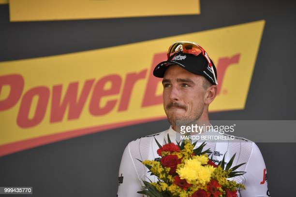 Germany's John Degenkolb reacts on the podium after winning the ninth stage of the 105th edition of the Tour de France cycling race between Arras and...