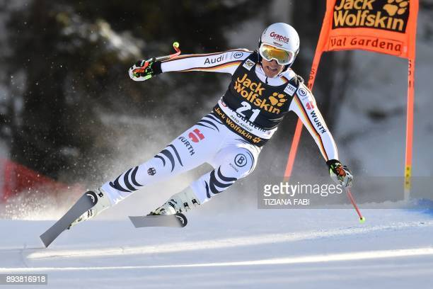 Germany's Josef Ferstl competes in the FIS Alpine World Cup Men Downhill on December 16 2017 in Val Gardena Groeden Italian Alps / AFP PHOTO /...