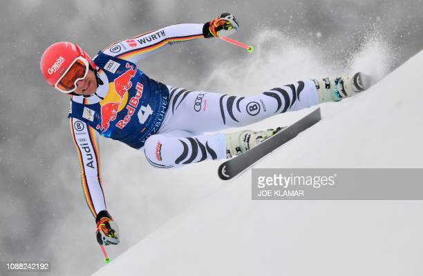 Germanys Josef Ferstl competes in the men's downhill event of the FIS Alpine Ski World Cup in Kitzbuehel Austria on January 25 2019