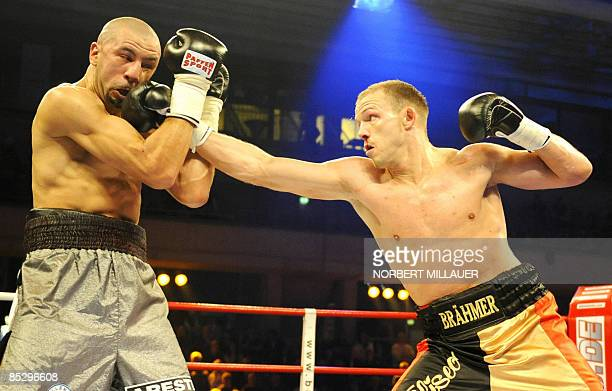 Germany's Juergen Braehmer fights against Rachid Kanfouah of France during their EBU lightheavyweight European Championship boxing match in the in...